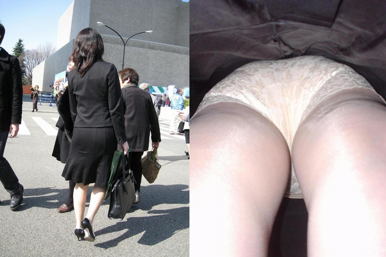 OLの地味な下着が多いタイトスカート逆さ盗撮エロ画像1枚目