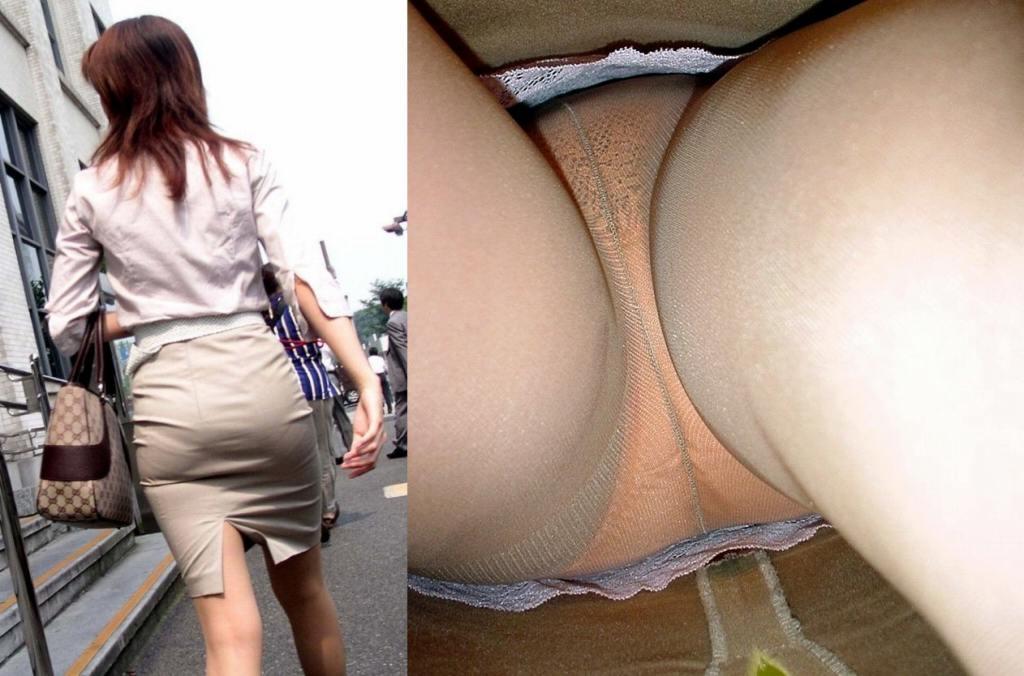 OLの地味な下着が多いタイトスカート逆さ盗撮エロ画像4枚目