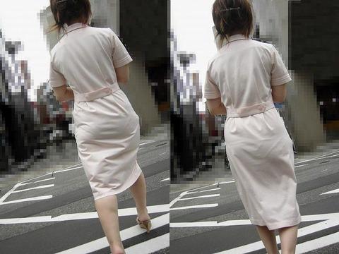 買い出し中の白衣ナースの透けピンク下着エロ画像9枚目