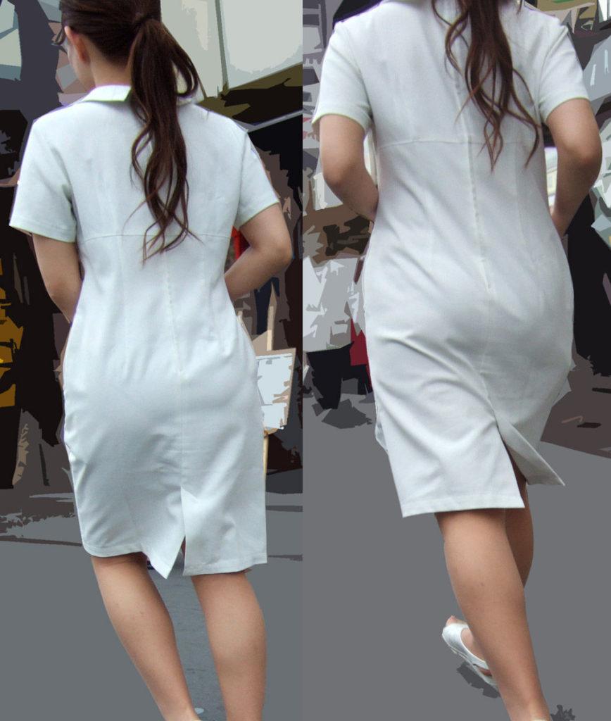 淫乱ナースの透けてる白衣がセクシーな盗撮エロ画像2枚目