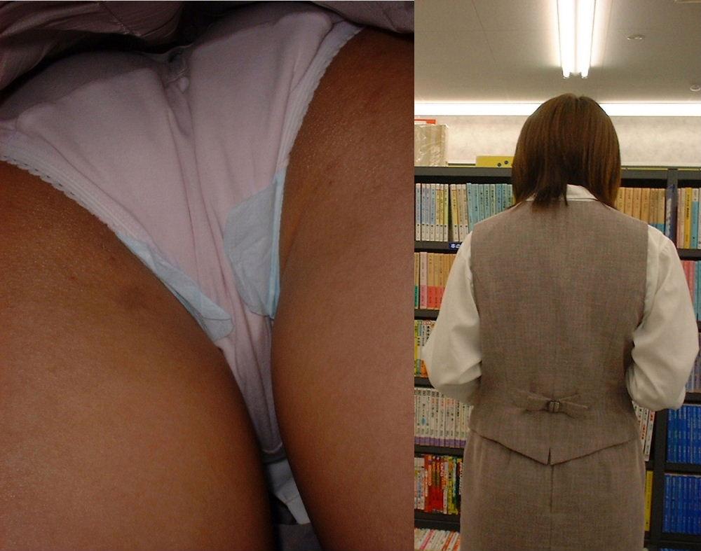 立ち読みするOLのタイトスカートを逆さ盗撮画像5枚目