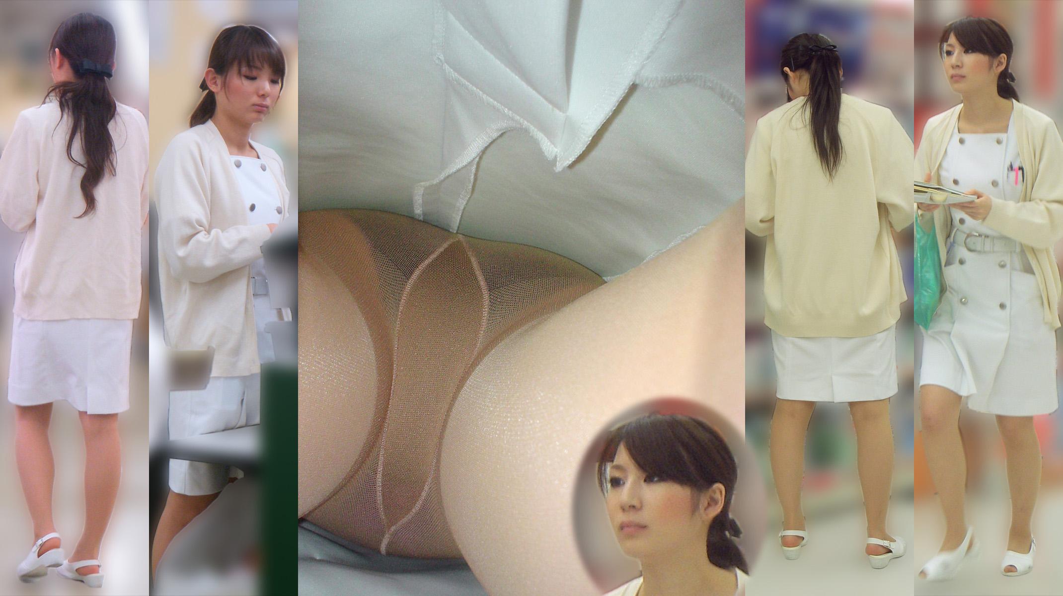 白衣ナースの厚手のパンスト魅惑的逆さ盗撮エロ画像11枚目