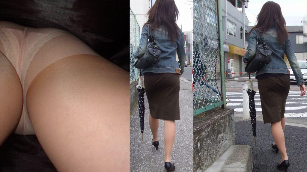 お局上司OLのお色気タイトスカート逆さパンストエロ画像10枚目