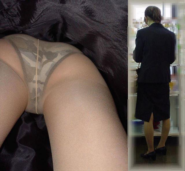 お局上司OLのお色気タイトスカート逆さパンストエロ画像12枚目