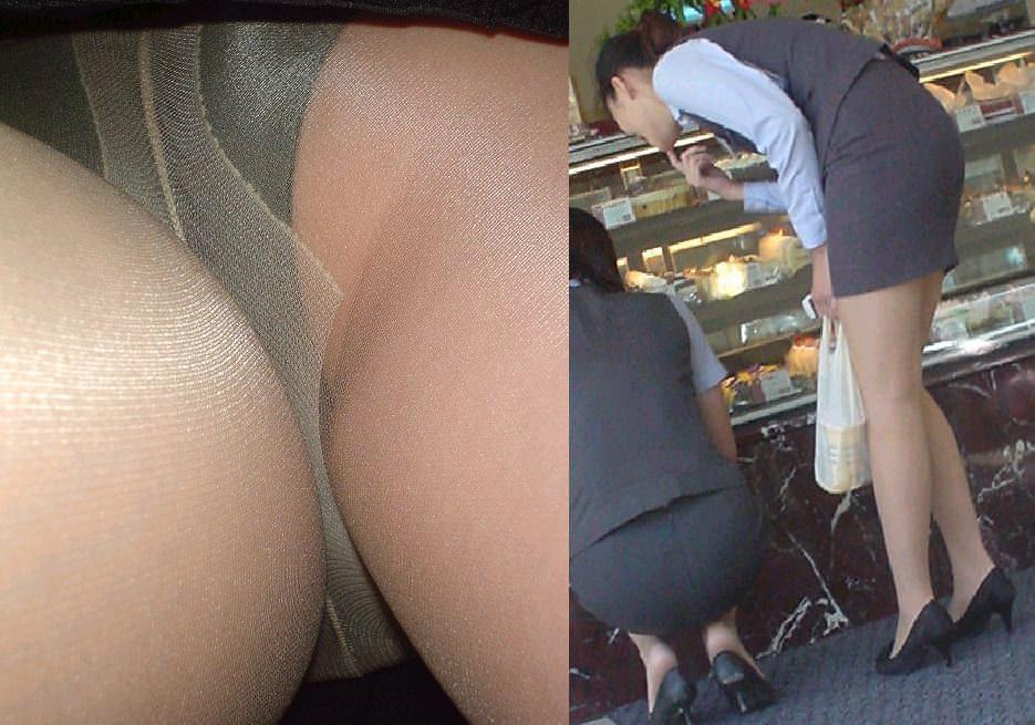 調子に乗ってるOLの逆さタイトスカート盗撮画像1枚目