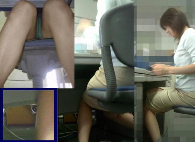 制服OLが椅子に座って油断した三角パンチラ盗撮エロ画像15枚目
