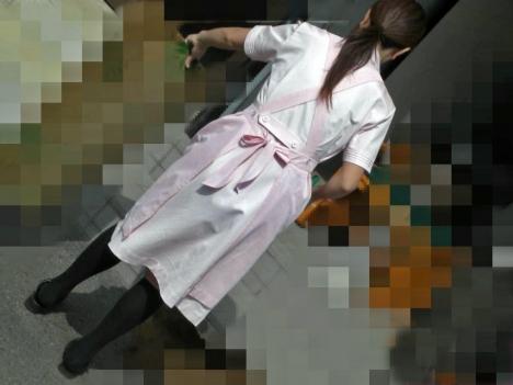 雑草を除去する白衣ナースの透け下着盗撮エロ画像5枚目
