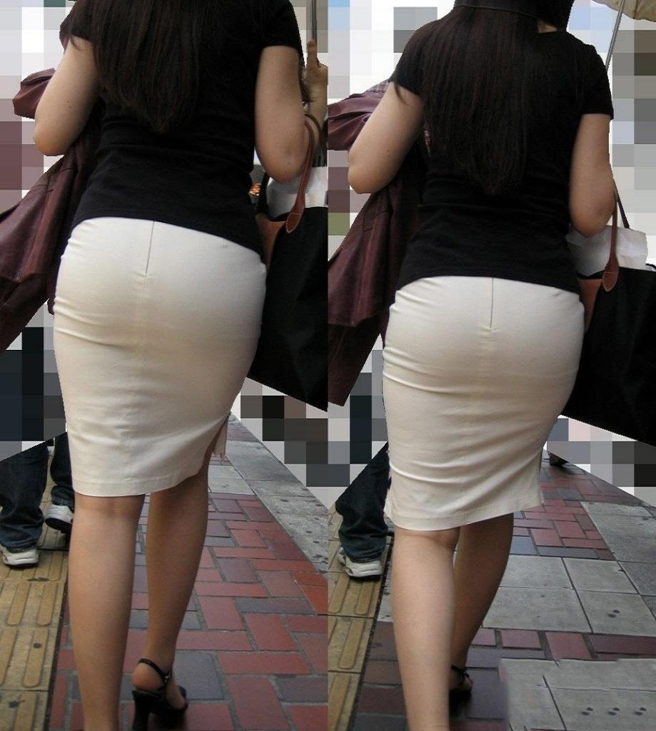 素人OLの光沢タイトスカートパンティライン盗撮エロ画像9枚目