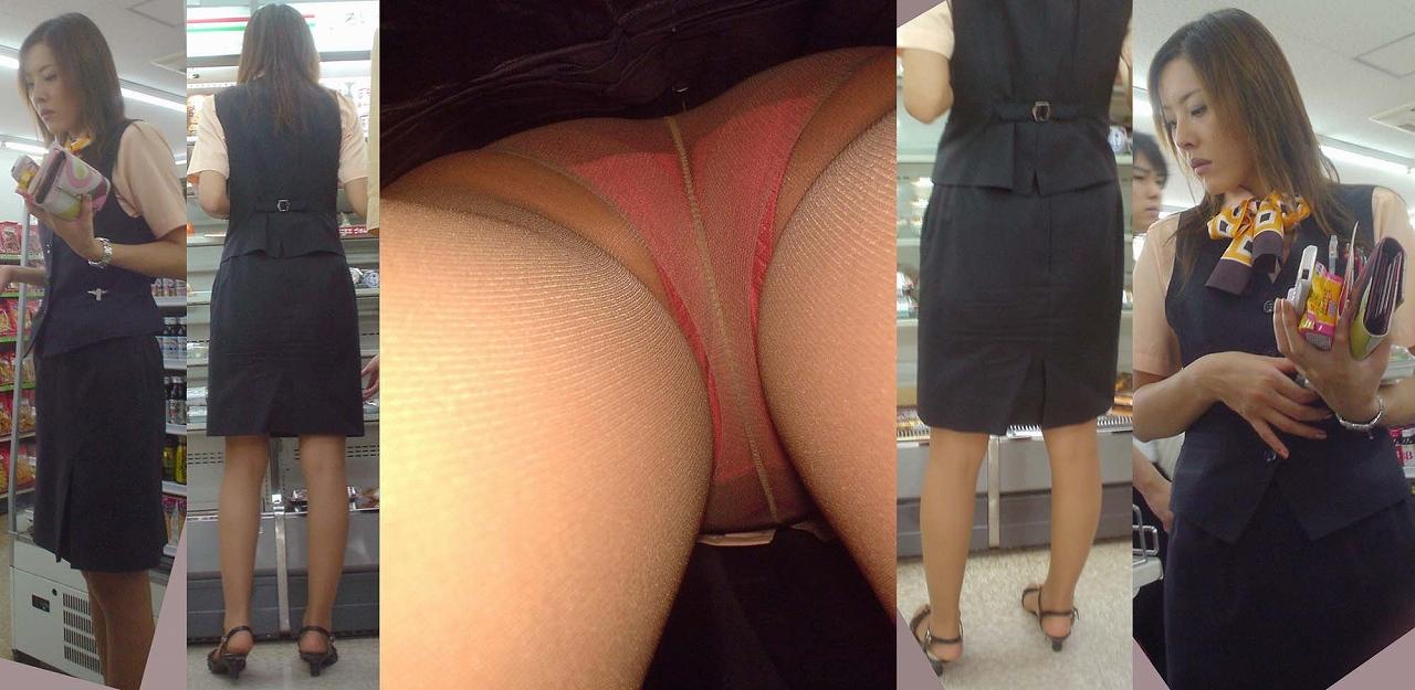 ヤンキーOLのタイトスカート逆さパンチラ盗撮画像1枚目