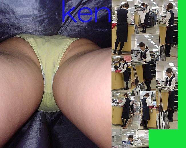 ギャル系OLのタイトスカートパンチラの逆さ盗撮エロ画像5枚目