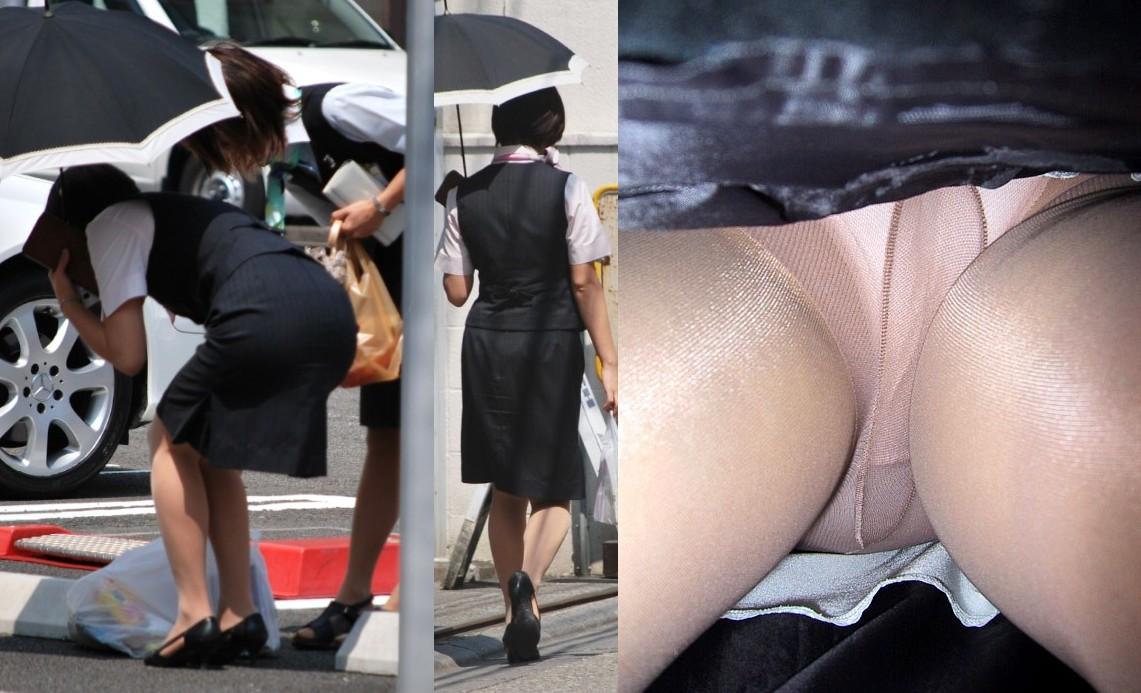 ヤンキーOLのタイトスカート逆さパンチラ盗撮画像8枚目