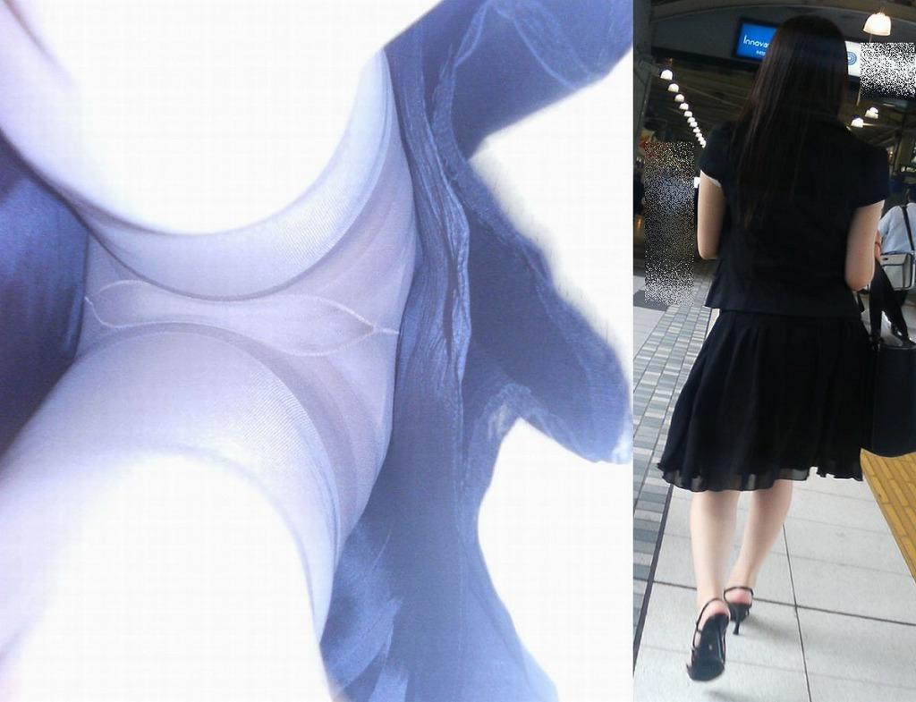 ヤンキーOLのタイトスカート逆さパンチラ盗撮画像14枚目