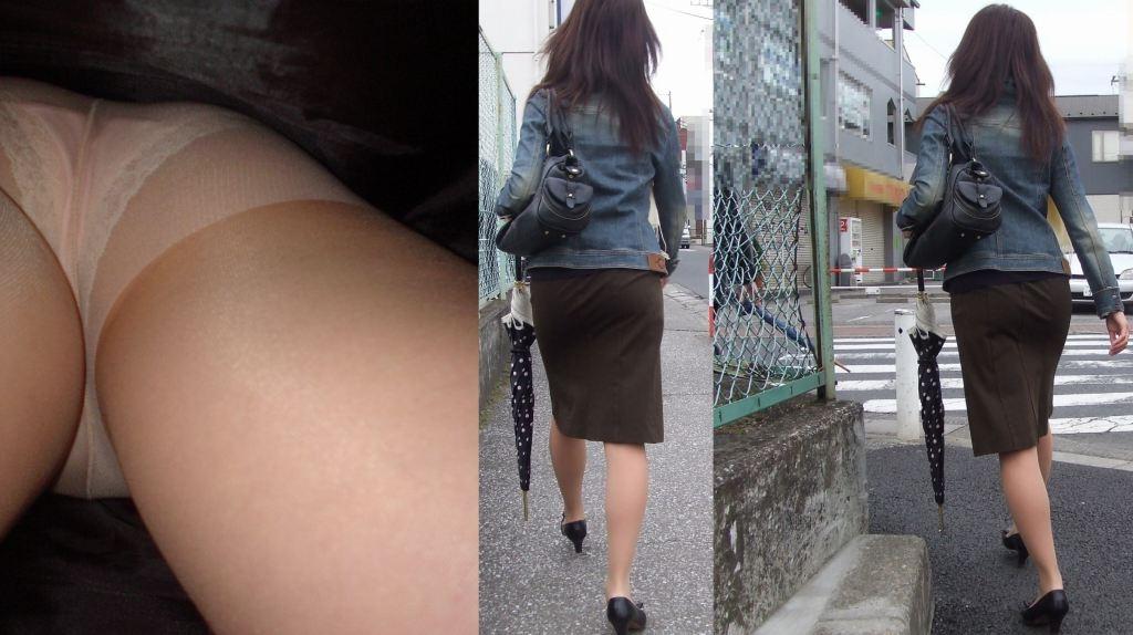 ビッチOLの巨尻タイトスカート逆さパンチラ盗撮エロ画像2枚目