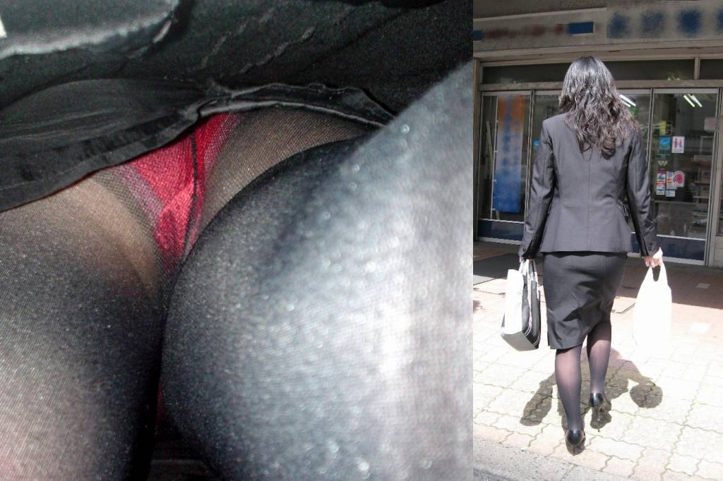 ビッチOLの巨尻タイトスカート逆さパンチラ盗撮エロ画像6枚目