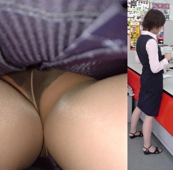 美脚OLのタイトスカート逆さ撮り盗撮エロ画像1枚目