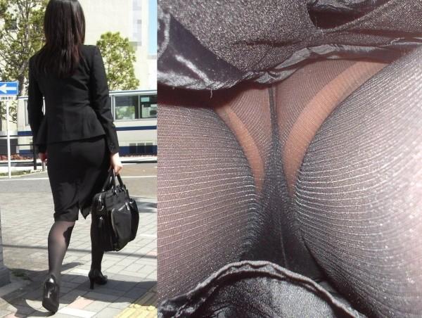 黒いパンティ淫乱OLのタイトスカート逆さ盗撮画像1枚目
