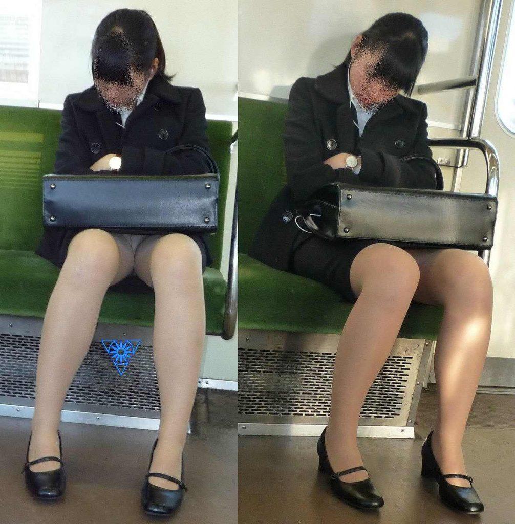 今だけ真面目そうな就活OLの電車内盗撮エロ画像15枚目