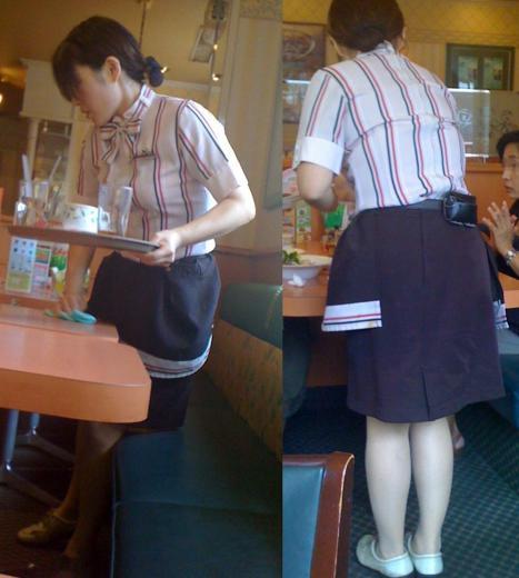 素人ファミレス店員の職業制服パンチラ盗撮エロ画像12枚目