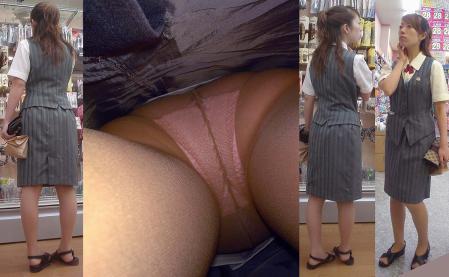 美脚OLが淫乱な網タイツを履く逆さパンチラの盗撮エロ画像8枚目