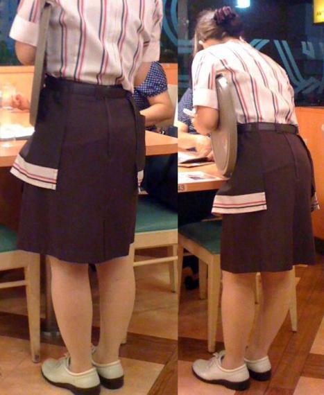 巨乳店員がハリハリ制服でファミレス勤務の素人盗撮エロ画像12枚目