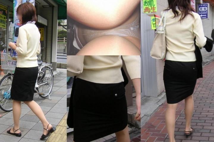 キャリアOLの油断したタイトスカート逆さ盗撮三角下着エロ画像3枚目