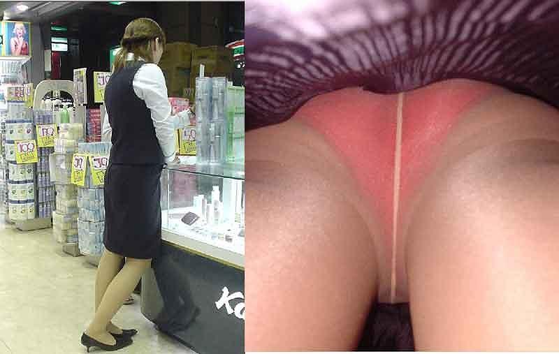 キャリアOLの油断したタイトスカート逆さ盗撮三角下着エロ画像9枚目