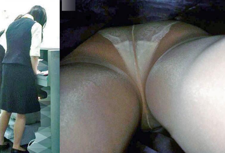 キャリアOLの油断したタイトスカート逆さ盗撮三角下着エロ画像11枚目