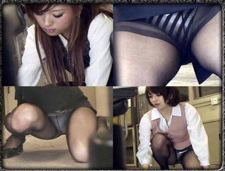素人OLのしゃがみ三角でずり上がったタイトスカートエロ画像5枚目
