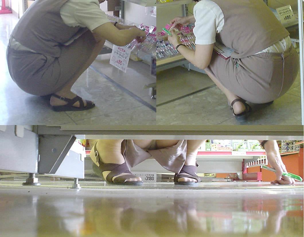 素人OLのしゃがみ三角でずり上がったタイトスカートエロ画像15枚目