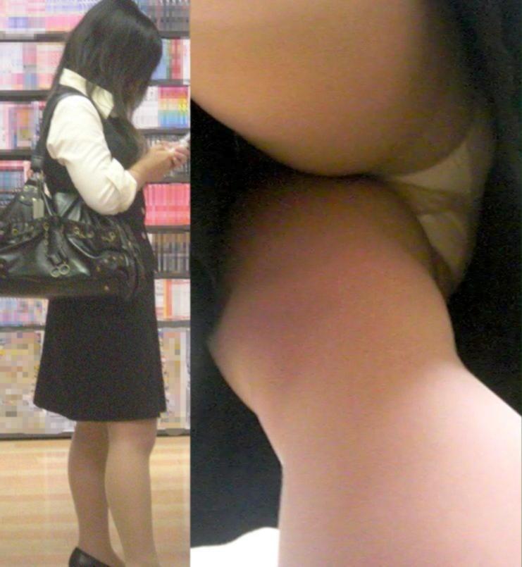 トレンチコートのOLタイトスカート逆さ盗撮画像4枚目