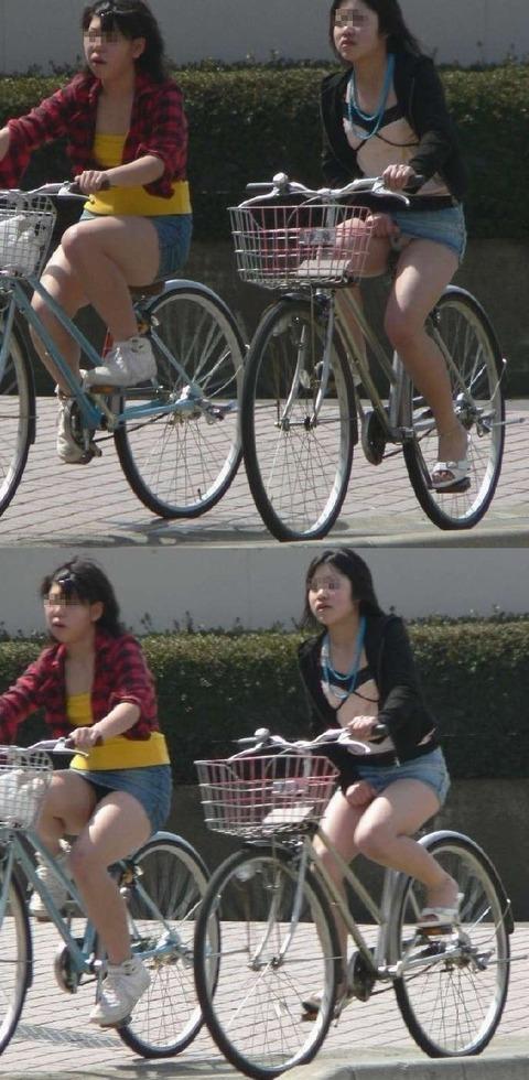 ヤンキー気味なガラの悪い自転車OLの三角盗撮画像7枚目