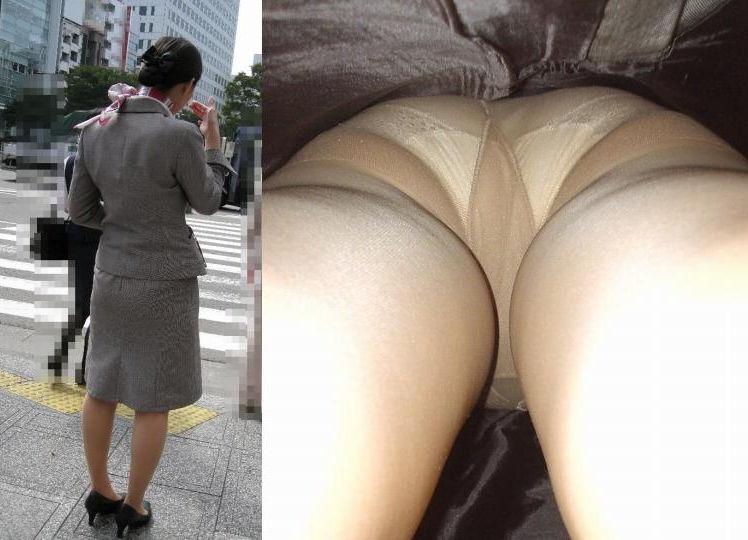 靴カメで逆さ盗撮されたOLタイトスカートエロ画像3枚目