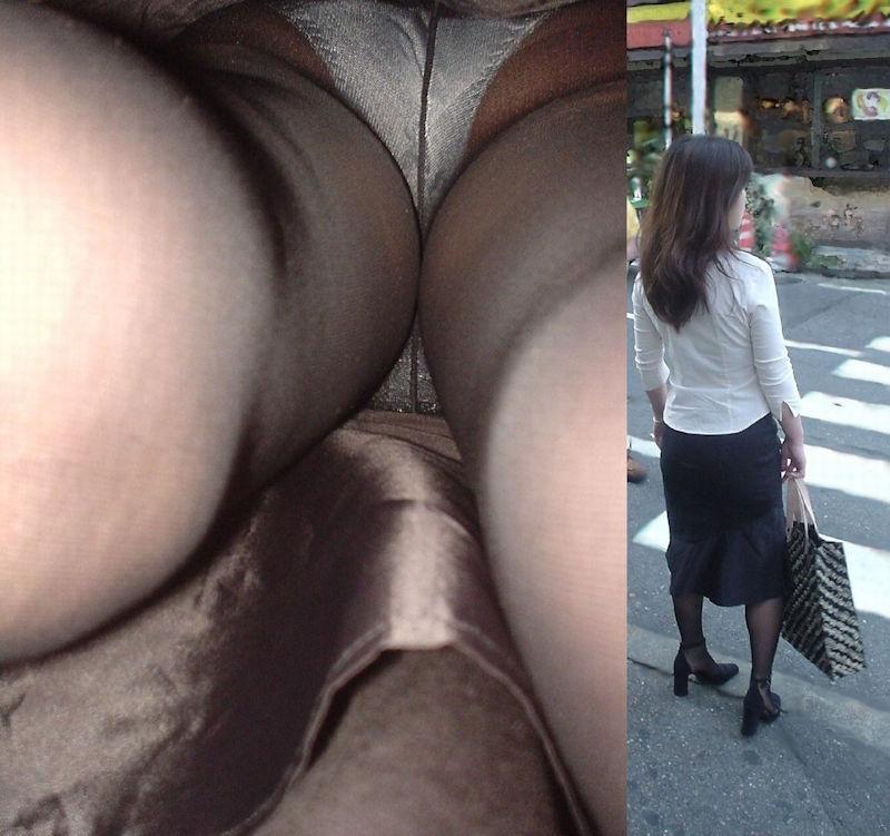 靴カメで逆さ盗撮されたOLタイトスカートエロ画像5枚目