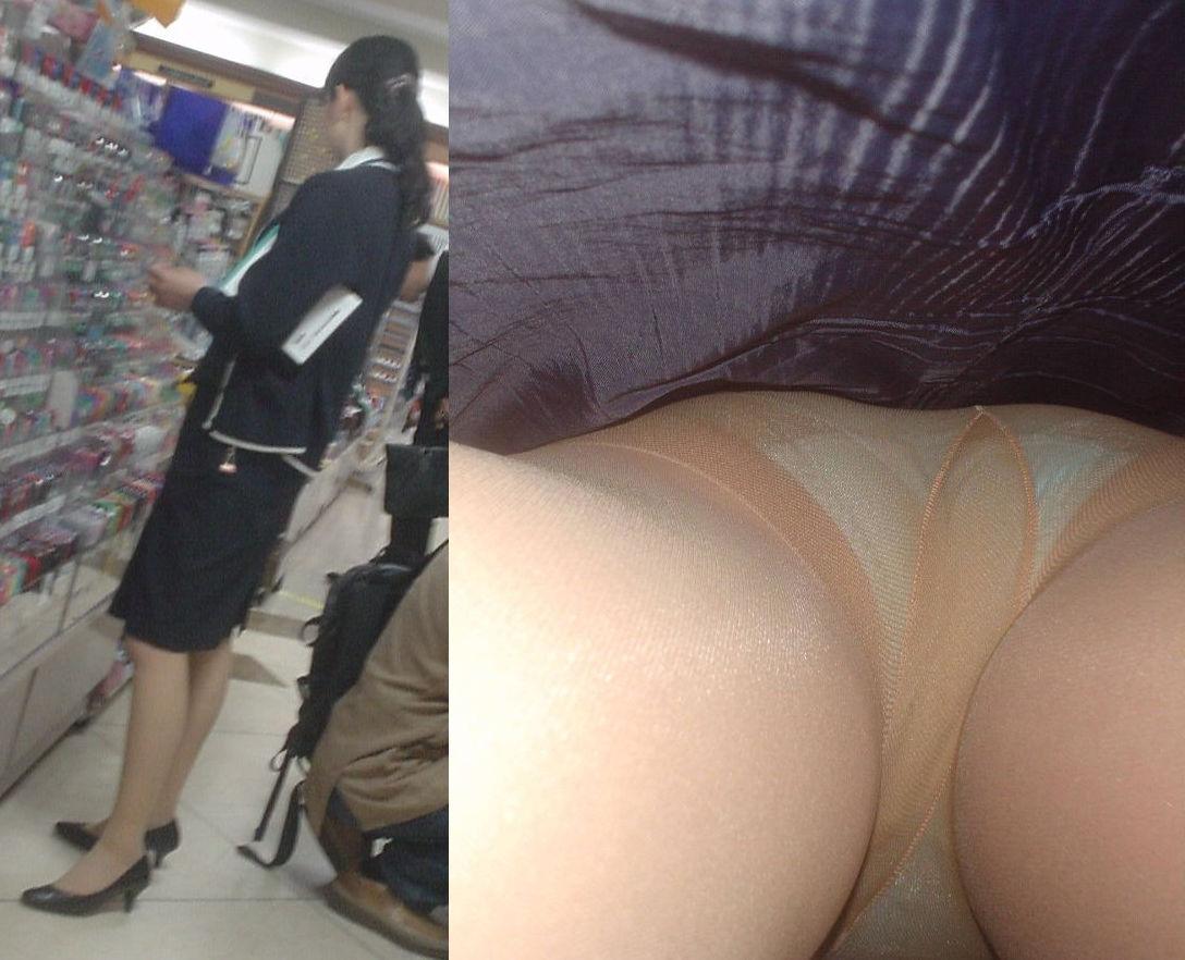 靴カメで逆さ盗撮されたOLタイトスカートエロ画像12枚目