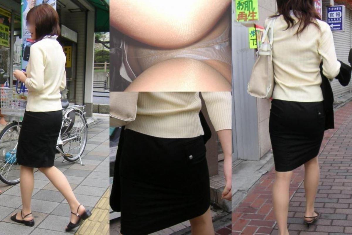 街角を歩くOLのタイトスカート逆さパンチラ画像16枚目