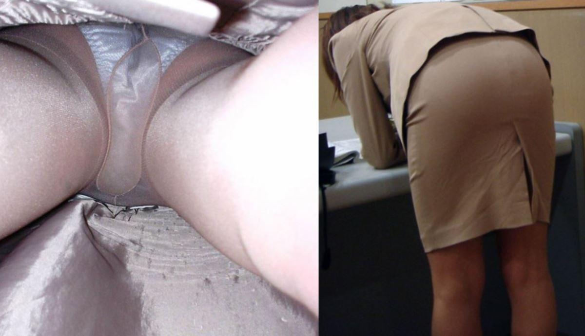 派手な色のパンティを履くOLの逆さ盗撮エロ画像15枚目