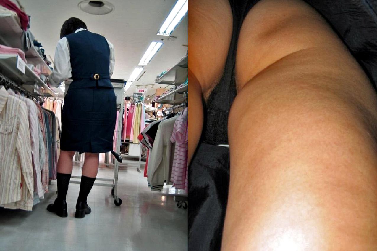 デパート店員OLのミニスカ逆さパンチラ盗撮画像5枚目