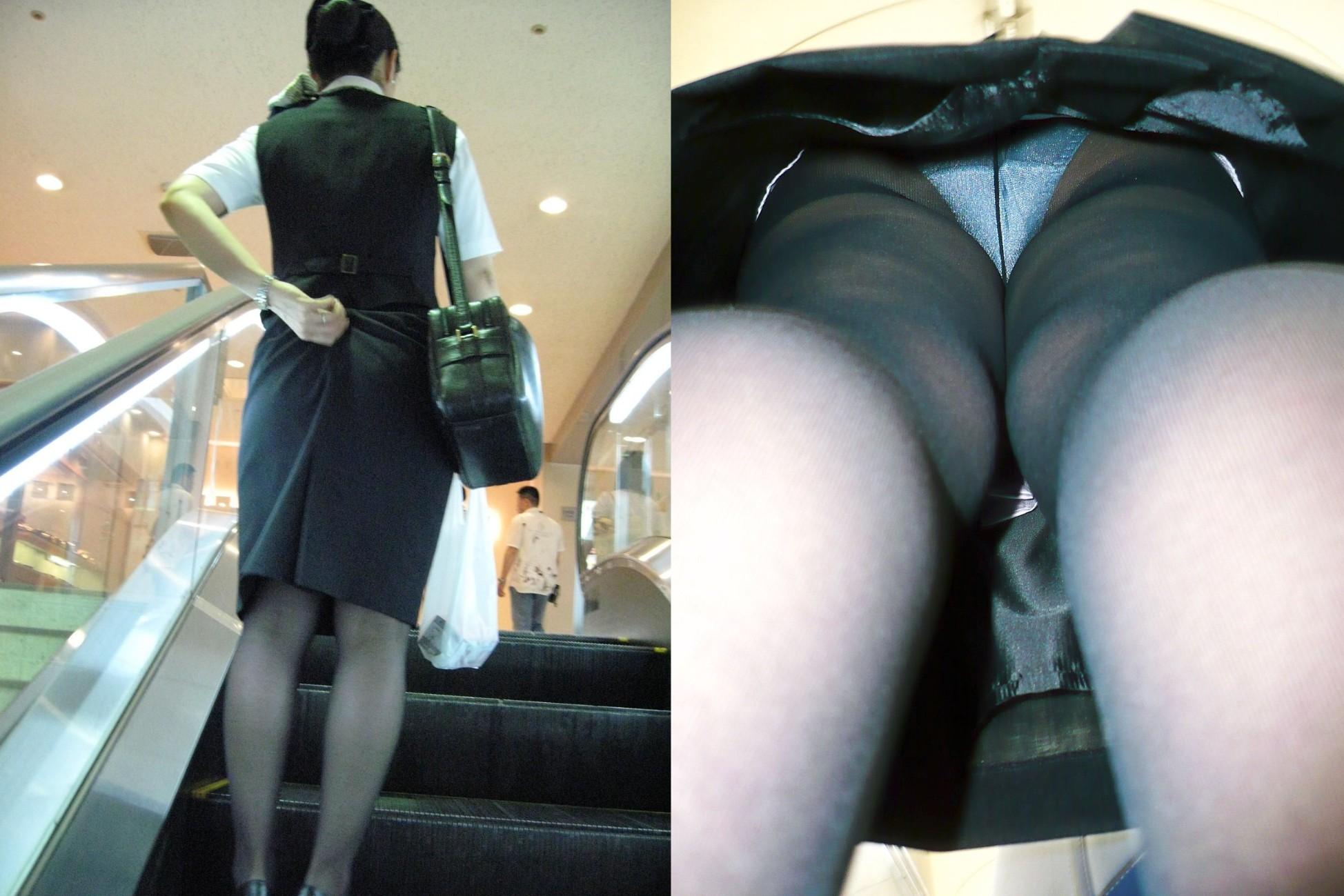 狙われたOL達の逆さタイトスカート盗撮エロ画像12枚目