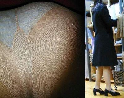 毎日盗撮されているタイトスカート逆さOLエロ画像5枚目