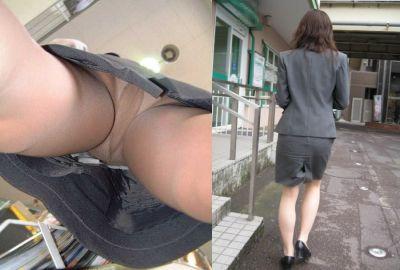 毎日盗撮されているタイトスカート逆さOLエロ画像8枚目